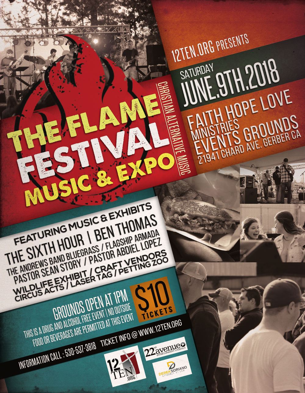 The Flame 12ten.org Gerber Live Music and Expo June 9th 2018
